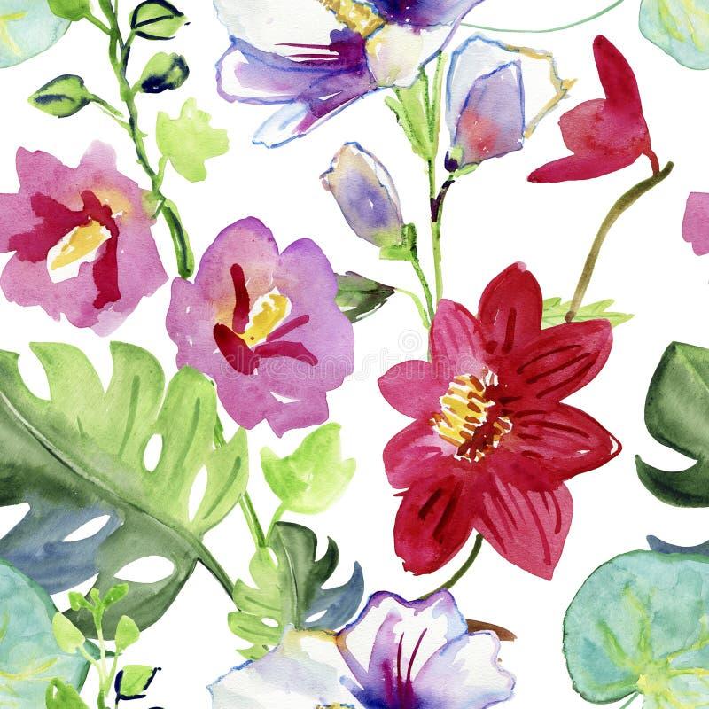 Картина акварели лист и цветков, безшовной картины на белой предпосылке иллюстрация вектора