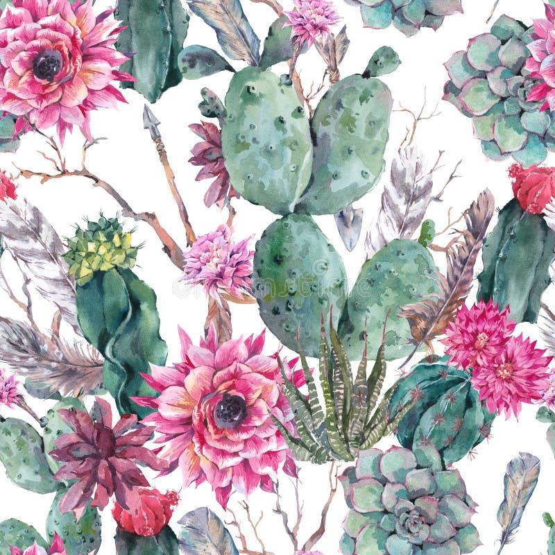 Картина акварели кактуса безшовная в стиле boho иллюстрация вектора