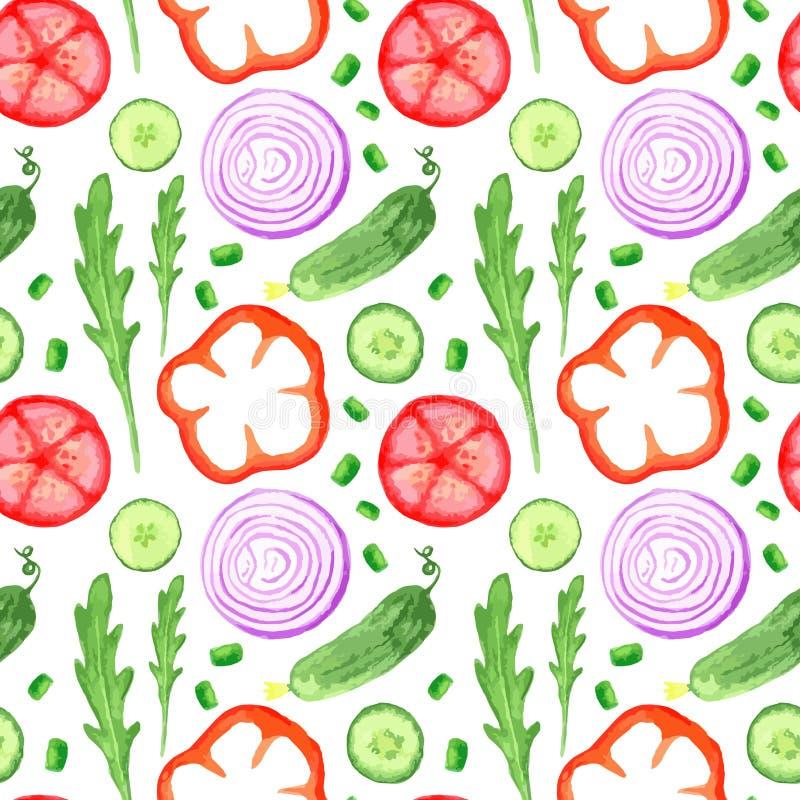 Картина акварели краски руки seanless при установленные овощи ест иллюстрации местного рынка фермы деревенские с arugula, луком,  иллюстрация вектора