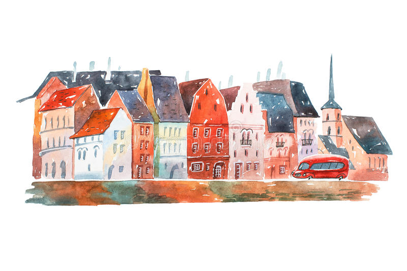 Картина акварели мирной улицы в Голландии с архитектурой домов типичной европейской иллюстрация вектора