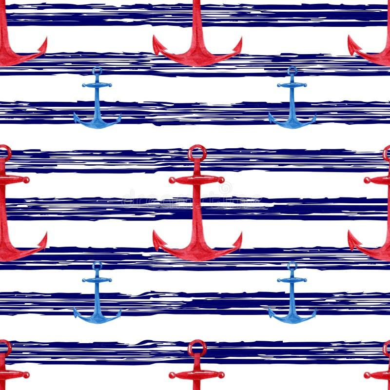 Картина акварели нарисованная рукой безшовная с предпосылкой красных, голубых анкеров морской striped Милый и простой морской диз иллюстрация вектора
