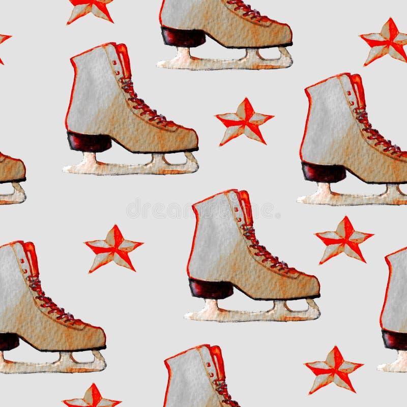 Картина акварели нарисованная рукой с коньками льда и красными звездами стоковая фотография