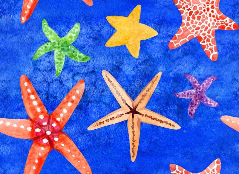 Картина акварели покрашенная рукой безшовная с морскими звёздами иллюстрация штока
