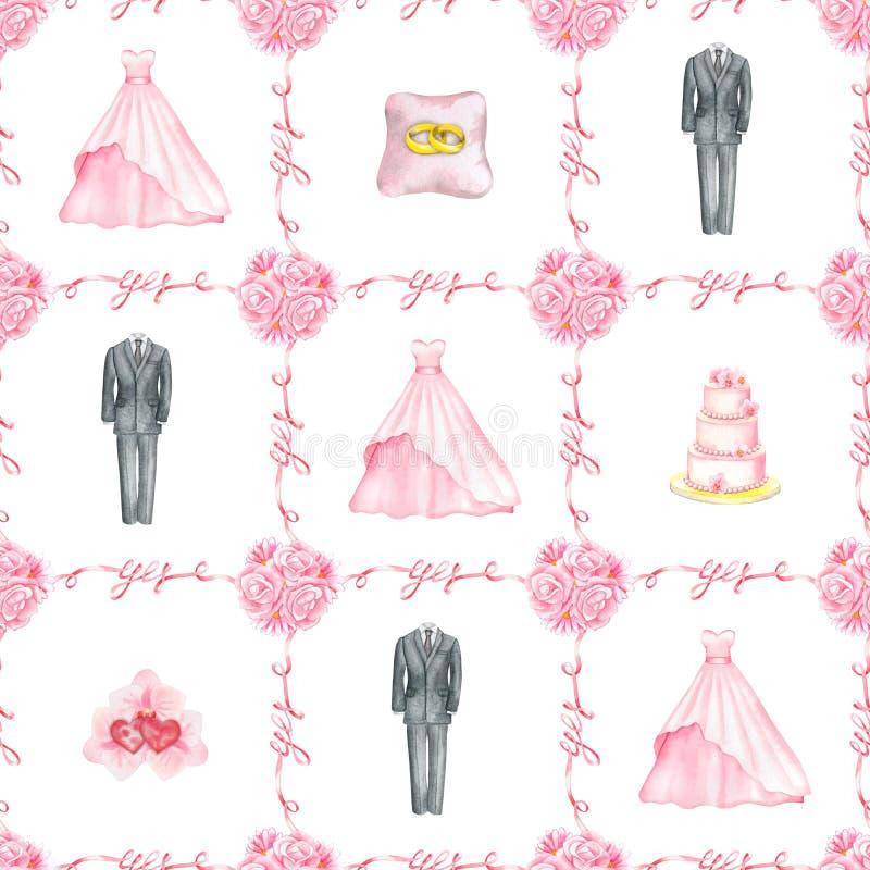 Картина акварели свадьбы безшовная бесплатная иллюстрация
