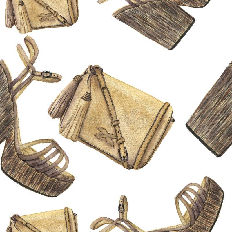 Картина акварели с бежевой сумкой с tassels и ботинками с платформой Нарисованная рукой иллюстрация моды на белом backgrou бесплатная иллюстрация