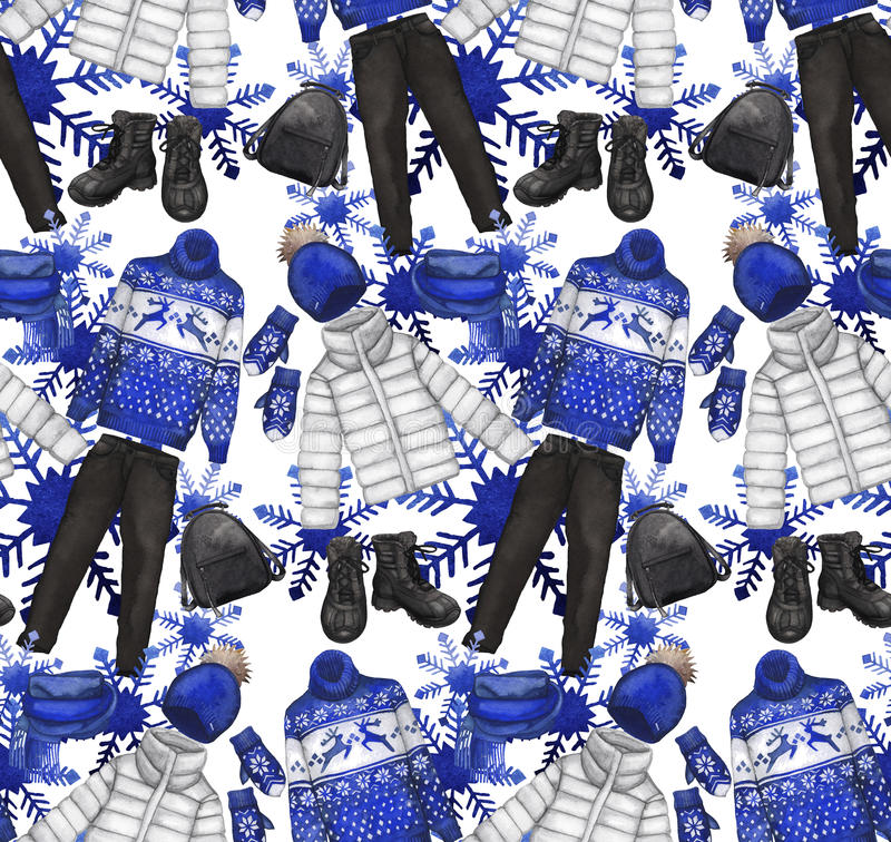 Картина акварели с одеждами зимы иллюстрация вектора