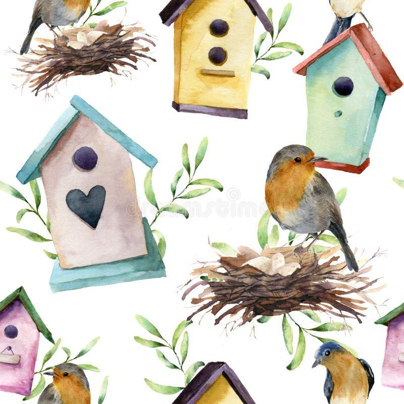 Картина акварели с птицей, birdhouse, гнездом с яичками и растительностью Вручите покрашенный орнамент весны с коробкой вложеннос иллюстрация вектора
