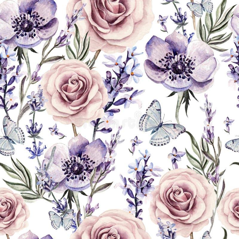 Картина акварели с цветами лаванды, роз и ветреницы иллюстрация вектора