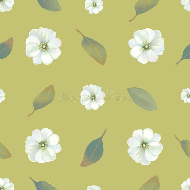 Картина акварели флористическая безшовная с белыми цветками и листьями против зеленой предпосылки Концепция цветения лета бесплатная иллюстрация