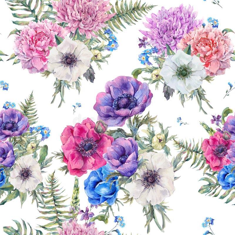 Картина акварели флористическая безшовная с ветреницами иллюстрация штока