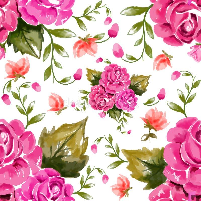 Картина акварели флористическая безшовная иллюстрация вектора