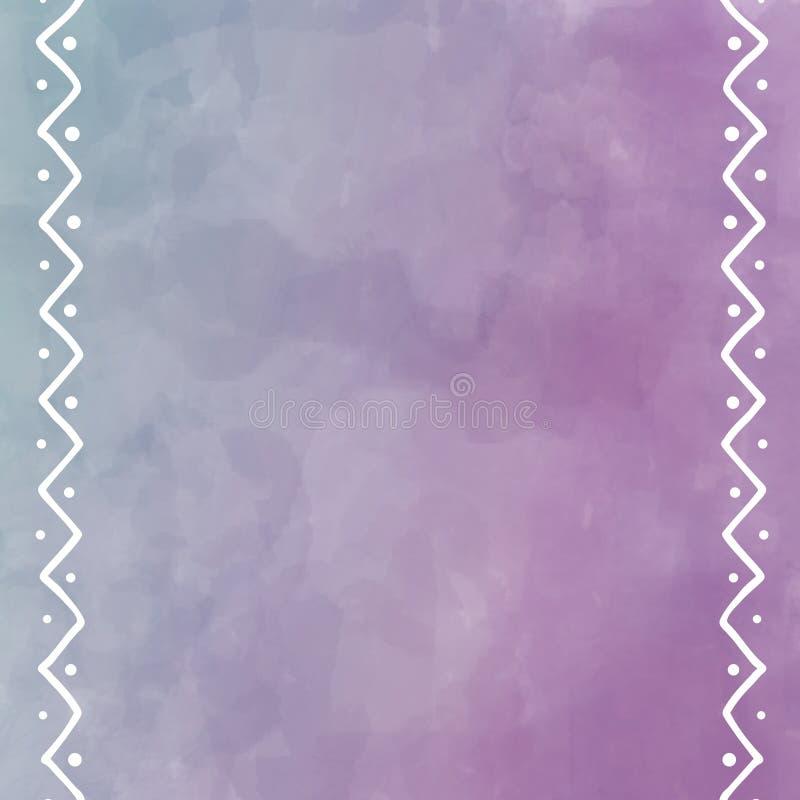 Картина акварели цифров в мягко пурпуре с белым племенным дизайном на границе иллюстрация вектора
