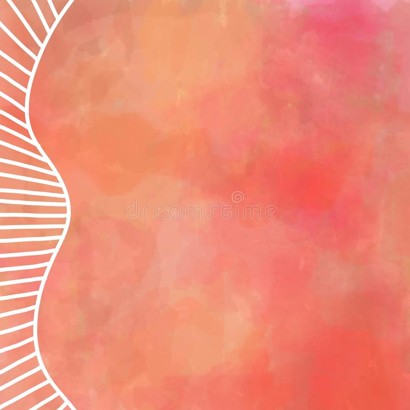 Картина акварели цифров в теплых цветах осени оранжевого красного цвета и желтого цвета с белым дизайном границы прямо и изогнуты бесплатная иллюстрация