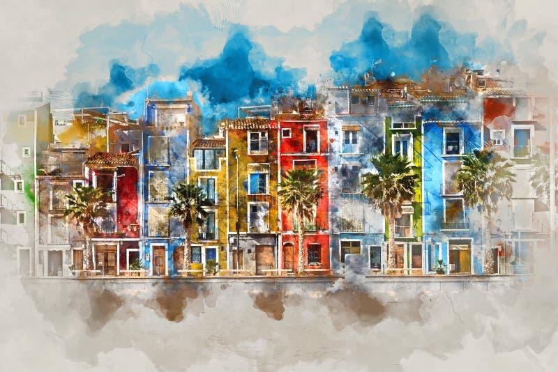 Картина акварели цифров городка Villajoyosa, Испании иллюстрация штока