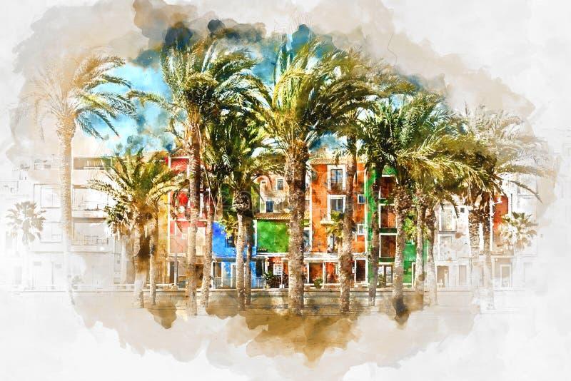 Картина акварели цифров городка Villajoyosa, Испании иллюстрация вектора