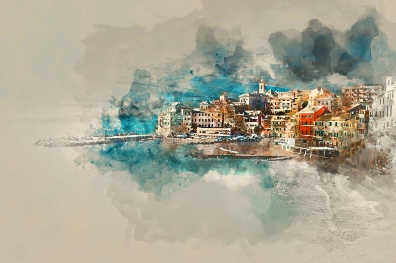 Картина акварели цифров Bogliasco Италия иллюстрация штока