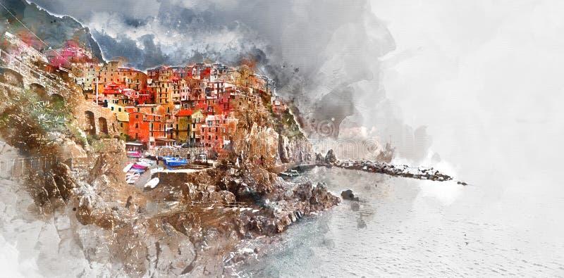 Картина акварели цифров Manarola Италия иллюстрация вектора