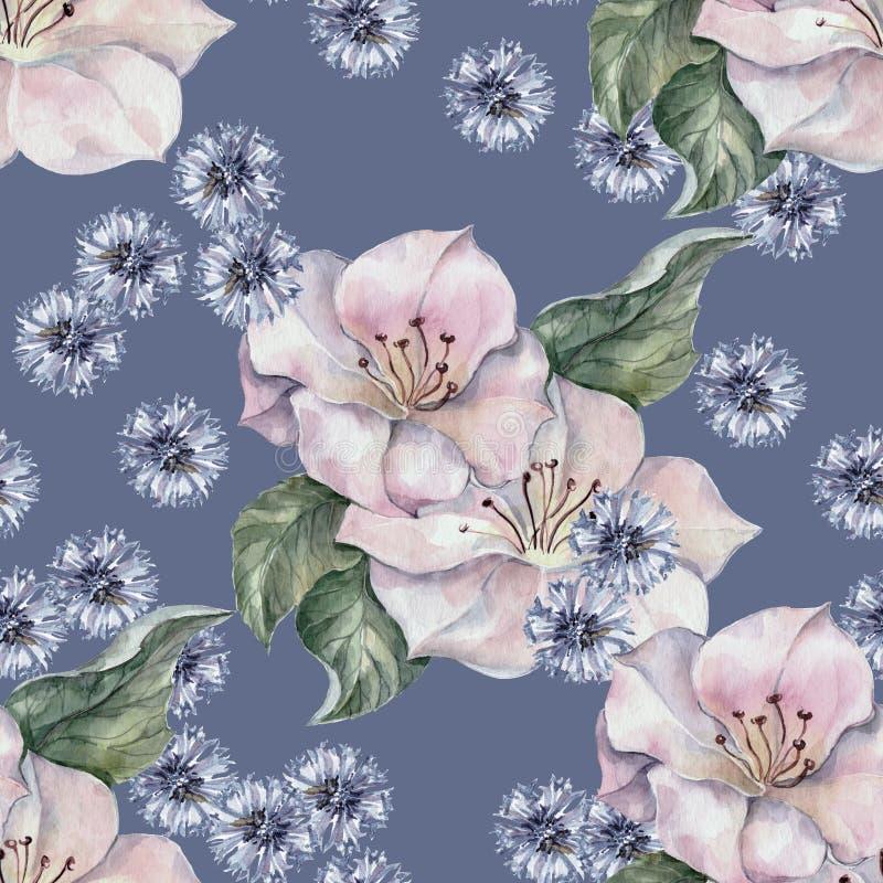 Картина акварели wildflowers весны безшовная бесплатная иллюстрация