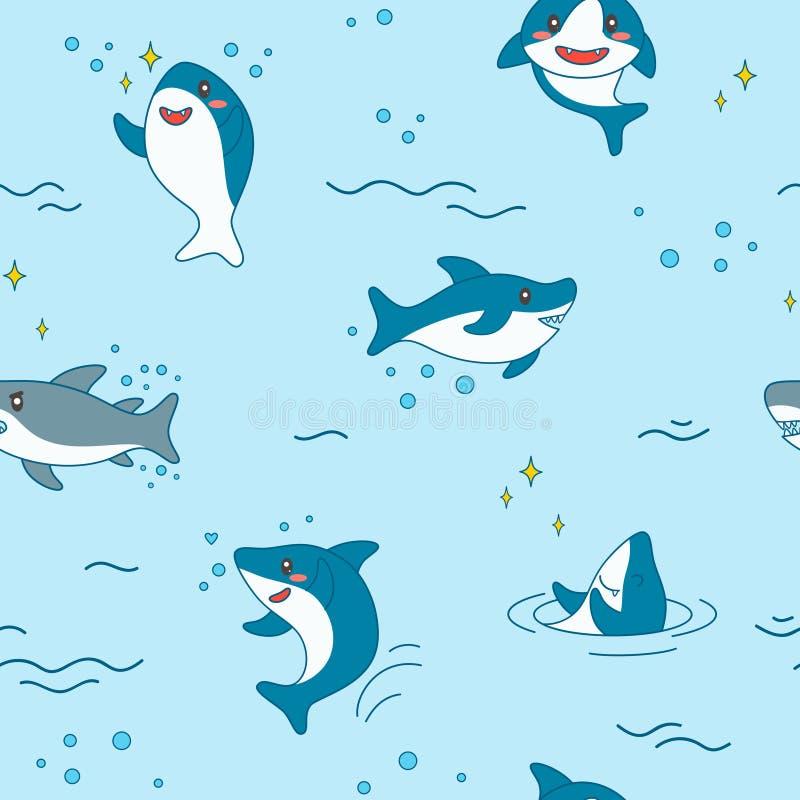 Картина акулы Kawaii безшовная Предпосылка милых смешных акул морская с тварями моря и морская флора и фауна для обоев иллюстрация штока