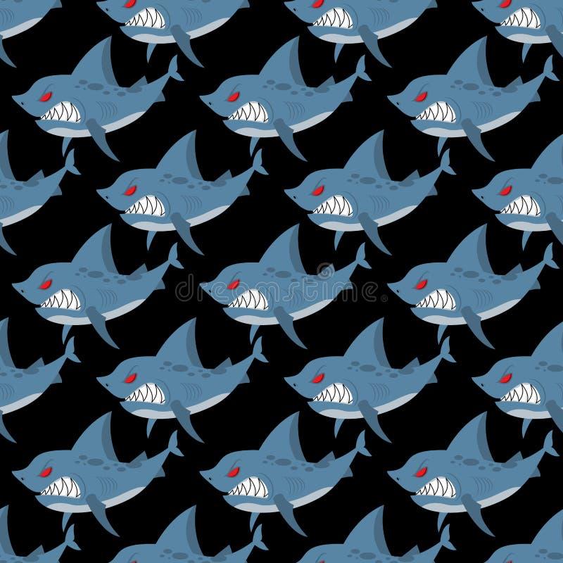Картина акулы безшовная Много сердитых, свирепых морских животных Ve иллюстрация вектора