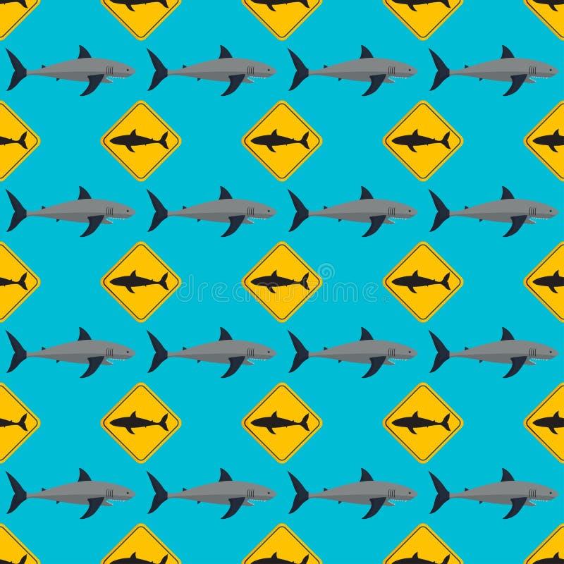 Картина акулы вектора безшовная иллюстрация вектора