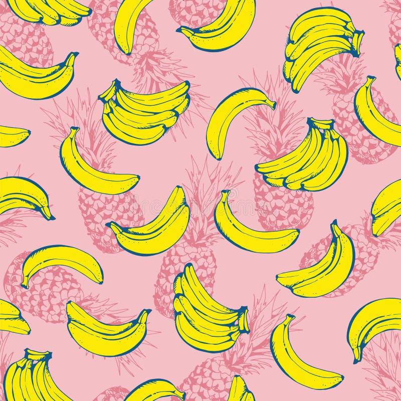 Картина ананаса безшовная, предпосылка вектора с ананасами и бананы бесплатная иллюстрация