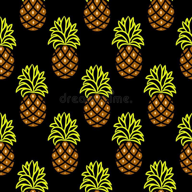 Картина ананаса зеленая и коричневая темная безшовная вектора иллюстрация штока