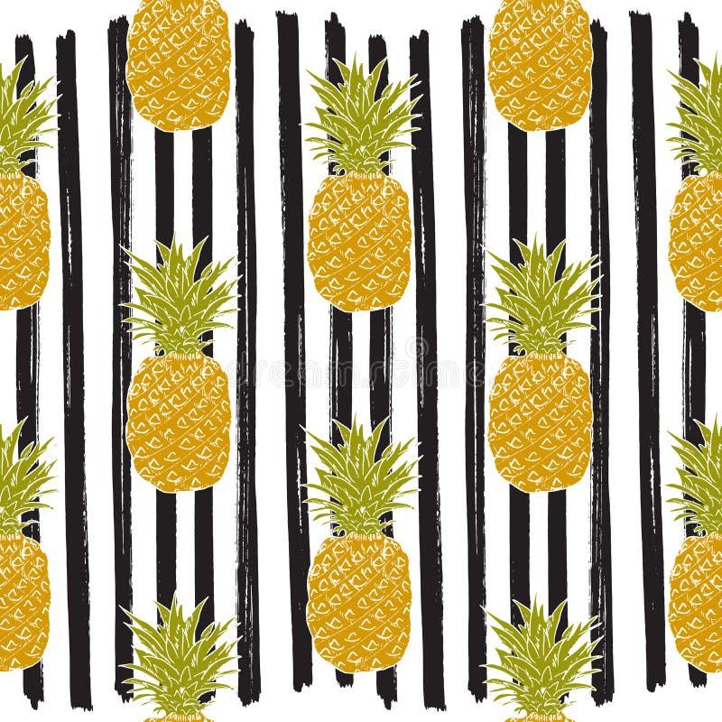 Картина ананаса нарисованная рукой striped эскизом безшовная также вектор иллюстрации притяжки corel иллюстрация вектора