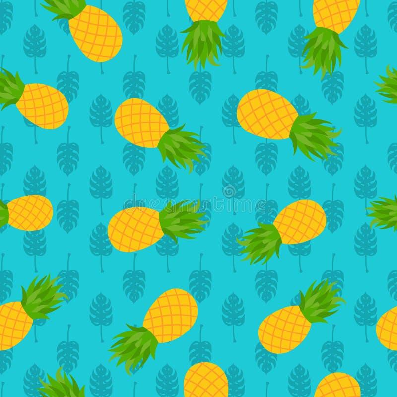 Картина ананаса тропическая безшовная на лето иллюстрация штока