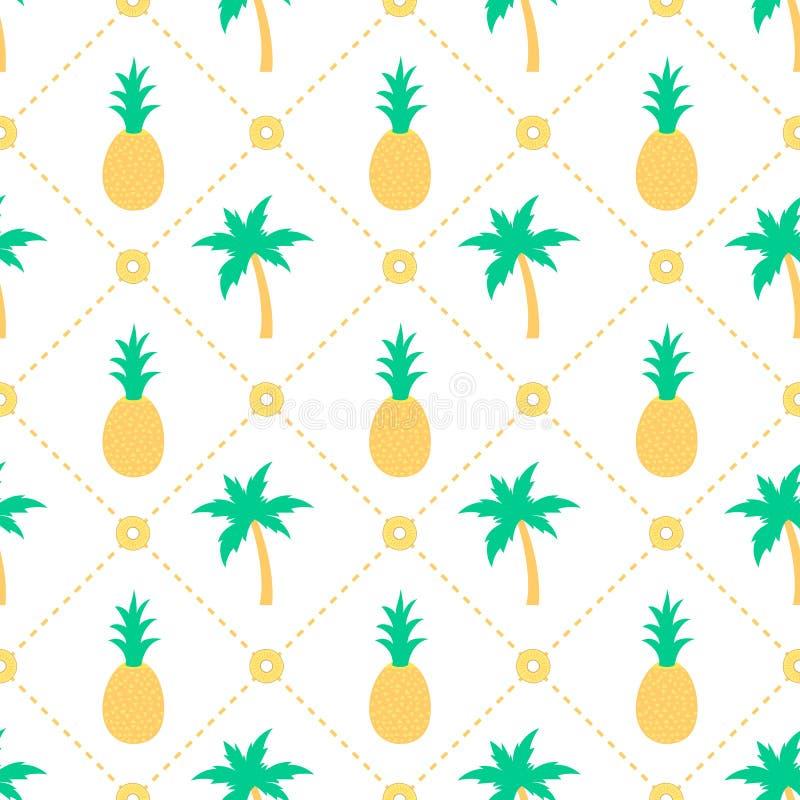 Картина ананасов и пальм безшовная бесплатная иллюстрация