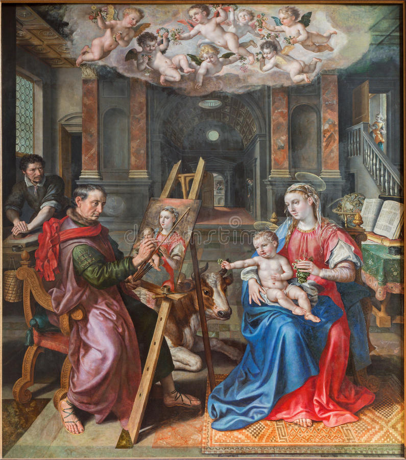 Download Картина Антверпена - St Luke Madona Maerten De Vos от года 1602 в соборе нашей дамы Стоковое Фото - изображение насчитывающей mary, церковь: 33729940