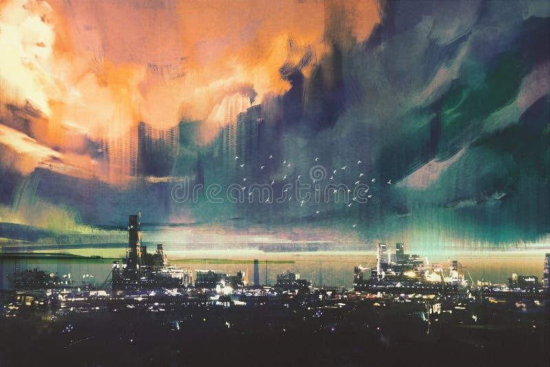 Картина ландшафта цифровая города научной фантастики иллюстрация штока