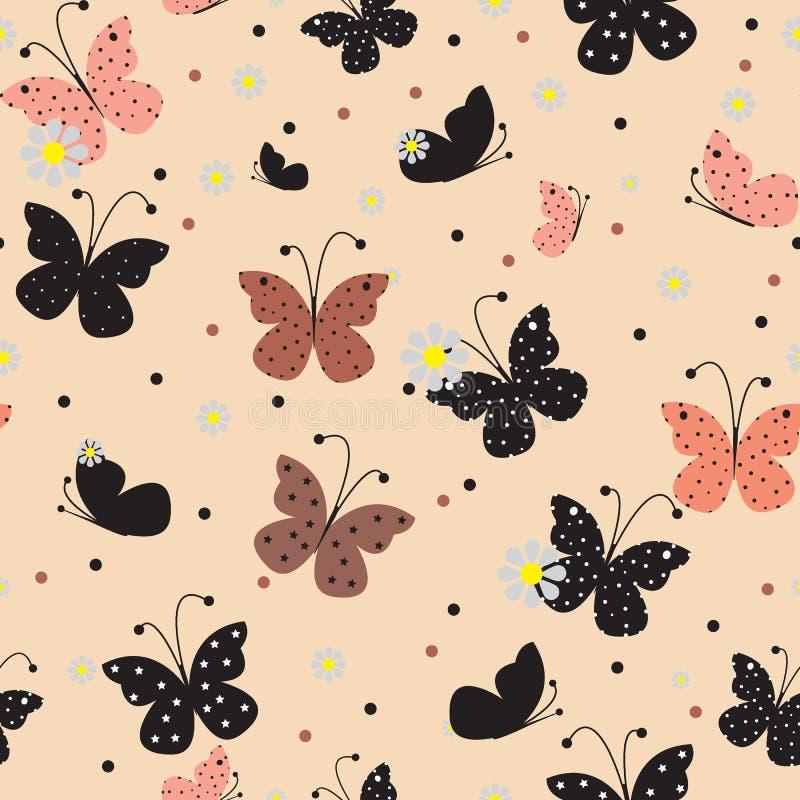 картина бабочек безшовная Иллюстрация EPS10 вектора иллюстрация вектора