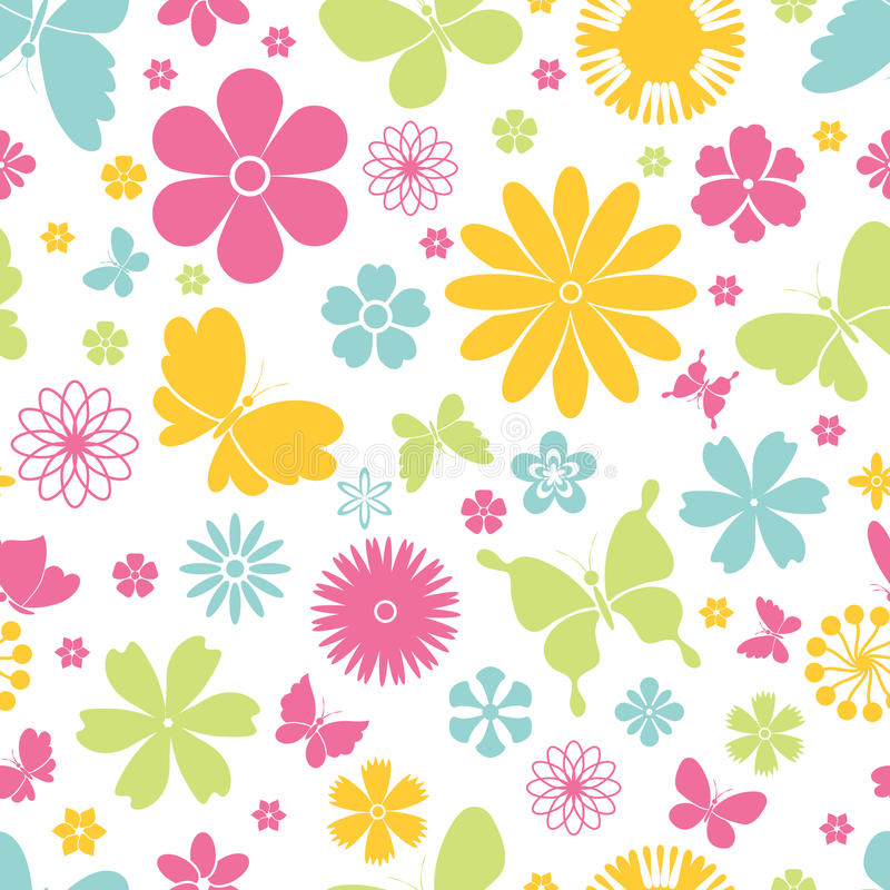 Картина бабочек и цветков весны безшовная иллюстрация вектора