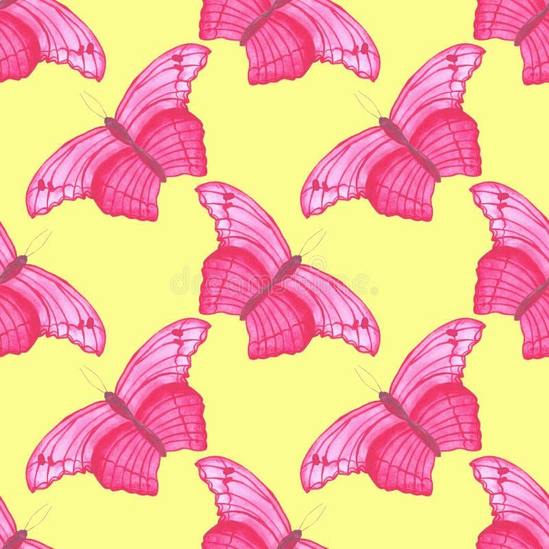 Картина бабочки пинка акварели безшовная на простой белой предпосылки регулярная иллюстрация штока