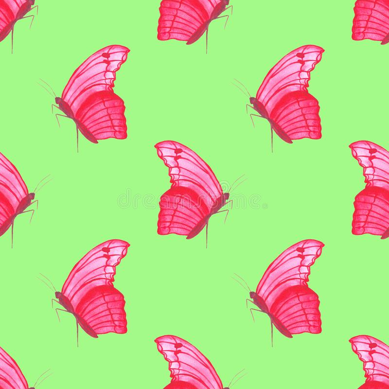 Картина бабочки пинка акварели безшовная на простой белой предпосылки регулярная бесплатная иллюстрация