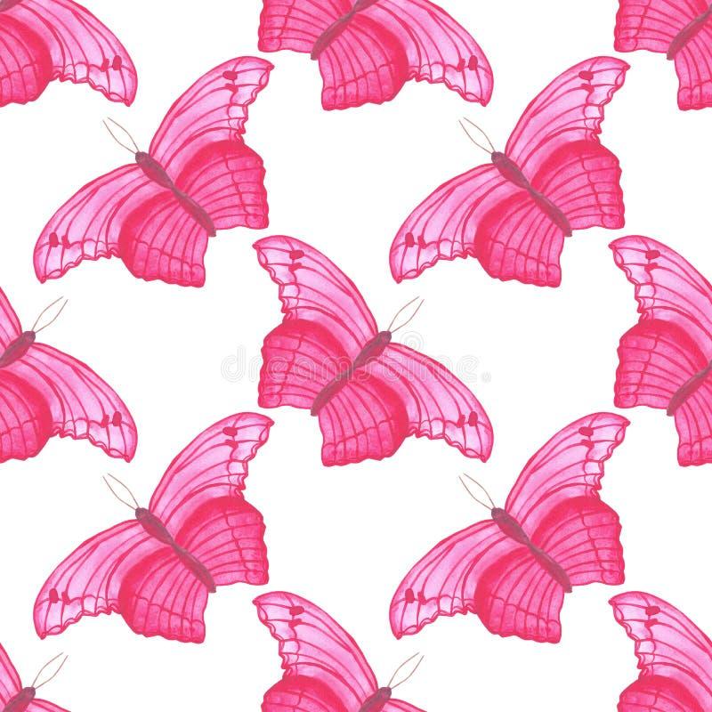Картина бабочки пинка акварели безшовная на простой белой предпосылки регулярная иллюстрация вектора