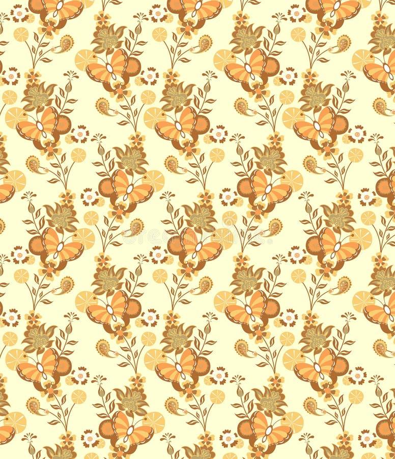 картина бабочки флористическая иллюстрация вектора