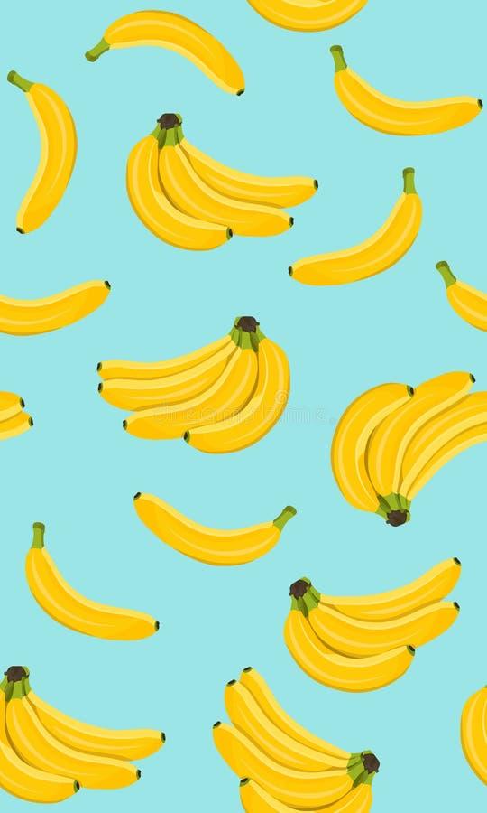 Картина банана безшовная, пук зрелых бананов на голубой предпосылке иллюстрация штока