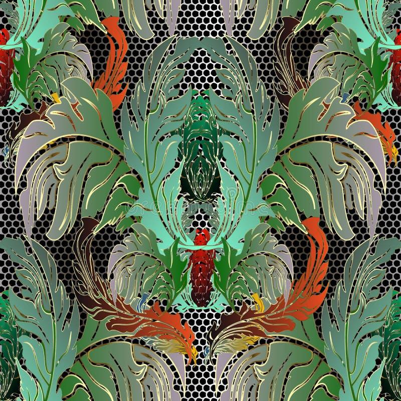 Картина барочного орнаментального флористического красочного вектора безшовная Предпосылка шнурка штофа густолиственная Повторите иллюстрация штока