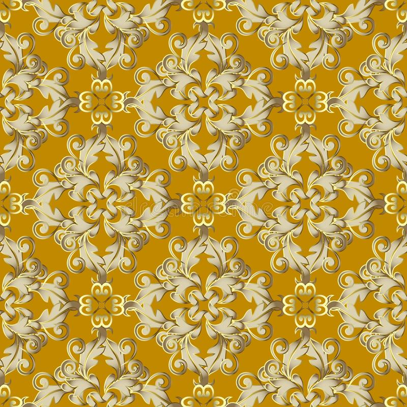 Картина барочного поверхностного вектора золота безшовная Предпосылка штофа орнаментальная Винтажные золотые цветки, листья Бароч иллюстрация вектора