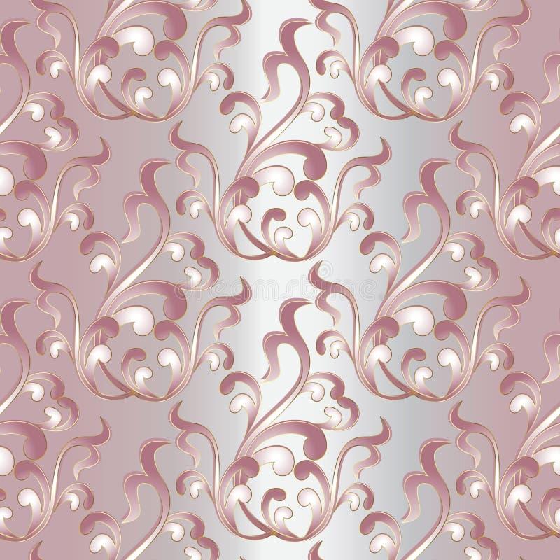 Картина барочного штофа винтажная безшовная Свет - розовое флористическое backg иллюстрация вектора