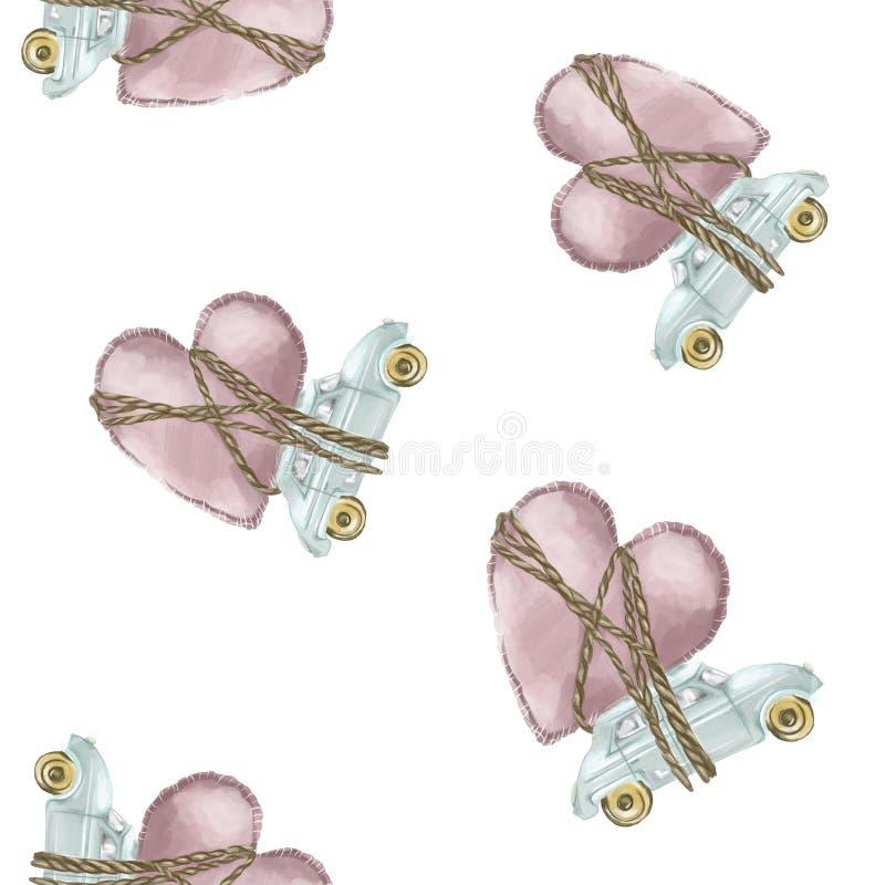 картина безшовная Автомобили стиля акварели старомодные со связанными заполненными сердцами и веревочками бесплатная иллюстрация