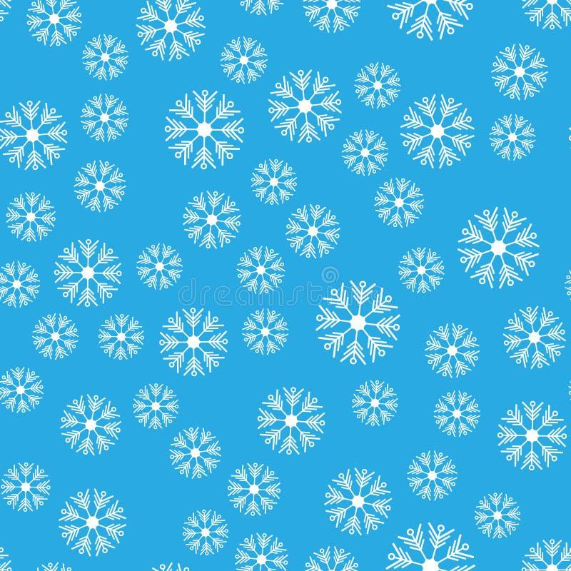 картина безшовная Белые снежинки на голубые предпосылки Для упаковывая бумаги иллюстрация штока