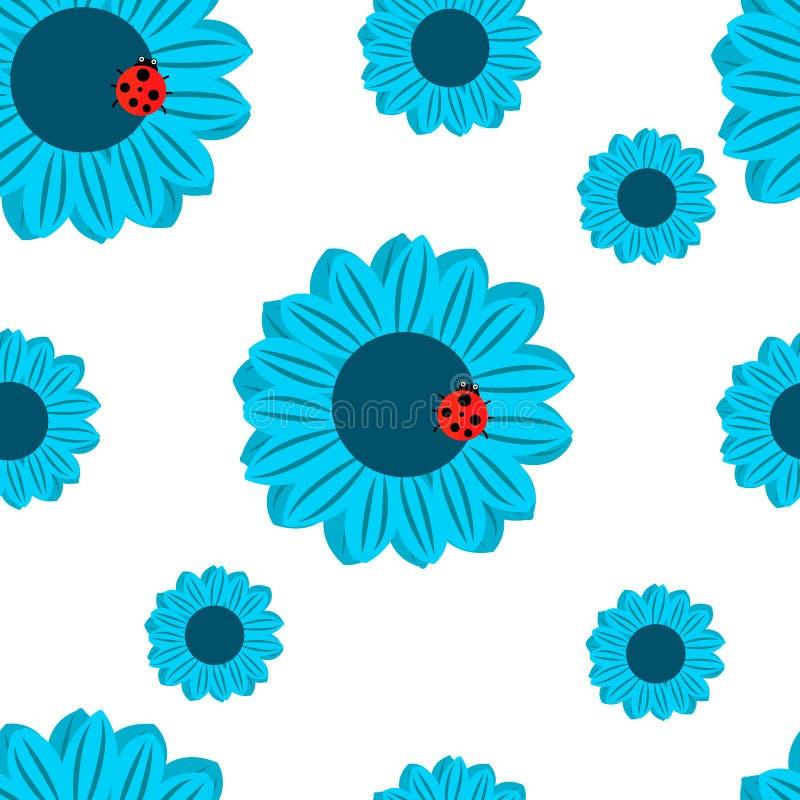 картина безшовная Голубые цветки и ladybug бесплатная иллюстрация