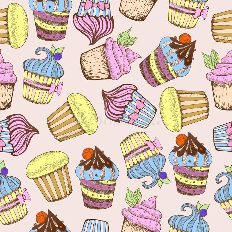 картина безшовная Декоративные торты помадки бесплатная иллюстрация