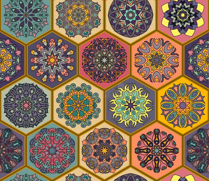 картина безшовная декоративный сбор винограда элементов рука нарисованная предпосылкой Ислам, арабский, индийский, мотивы тахты У бесплатная иллюстрация