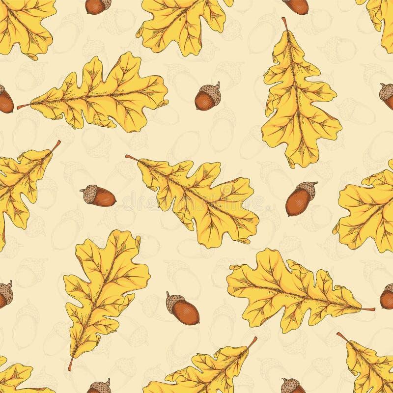 картина безшовная желтый цвет дуба листьев жолудей иллюстрация штока