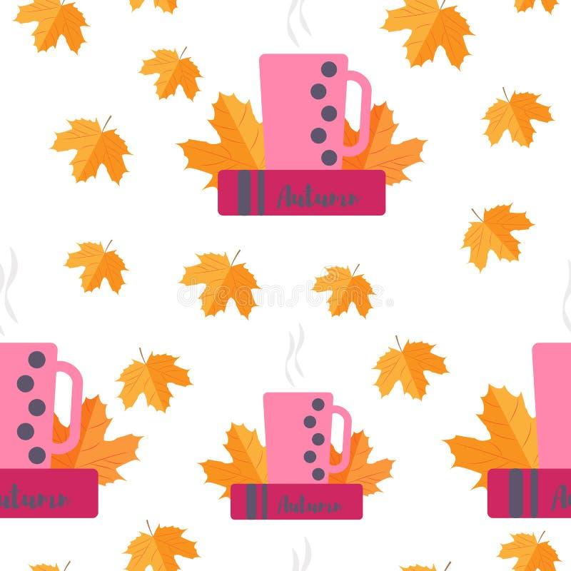 картина безшовная Желтый цвет осени выходит и записывает с чашкой чаю иллюстрация вектора