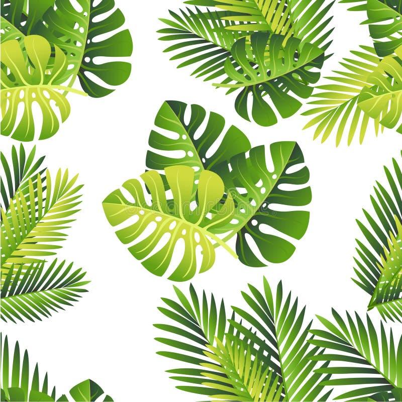картина безшовная зеленый цвет выходит тропической Экзотические лист джунглей и ладони Элемент вектора флористический на белой пр иллюстрация штока